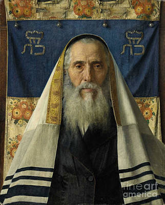 With Prayer Painting - Rabbi With Prayer Shawl by MotionAge Designs