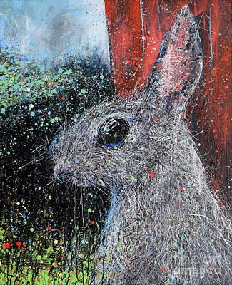 Rabbit And Barn Original by Michael Glass