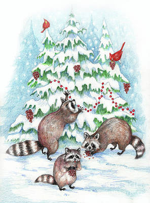 Raccoon Christmas Original by Peggy Wilson