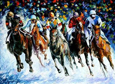 Race On The Snow Original by Leonid Afremov