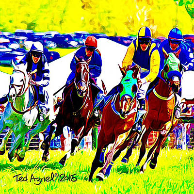 Horses Digital Art - Race To The Finish  by Ted Azriel