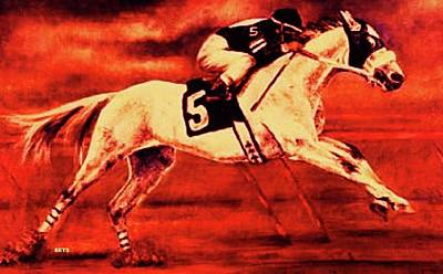 Horse Painting - Racehorse 5 Red Red by Bets Klieger