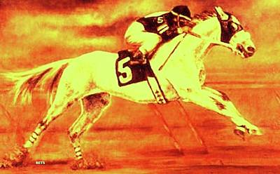 Horse Painting - Racehorse 5 Yellow Orange by Bets Klieger