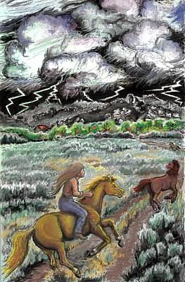 Storm Drawing - Racing The Lightning Home by Dawn Senior-Trask