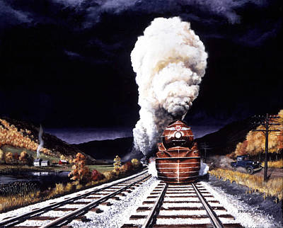Railroad Painting - Racing The Storm by David Mittner