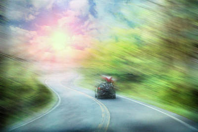 Racing To The River Print by Debra and Dave Vanderlaan