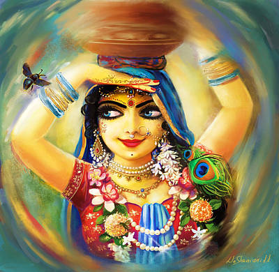 Parvati Painting - Radha And Bumblebee by Lila Shravani