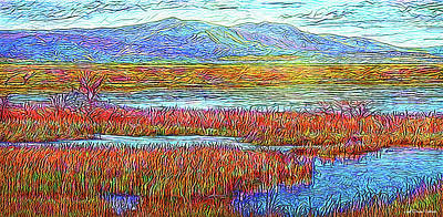 Trippy Digital Art - Radiant Twilight Pond - Colorado Lake With Mountains by Joel Bruce Wallach
