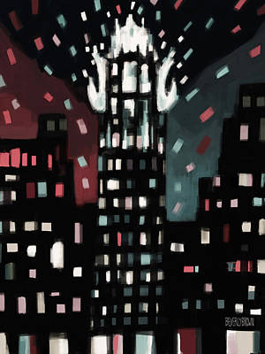 Skyline Painting - Radiator Building Night by Beverly Brown Prints