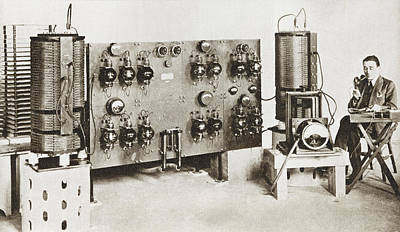 Radio Announcer Transmitting A News Print by Vintage Design Pics