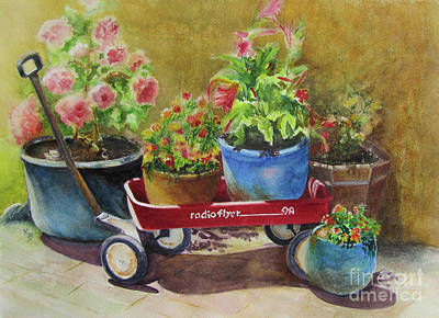 Radio Flyer Wagon Painting - Radio Flyer by Karen Fleschler