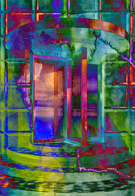 Impressionistic Digital Painting - Radioactive Revolving Door by Elaine Plesser