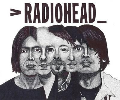 Music Drawing - Radioheads by Mark Richardson