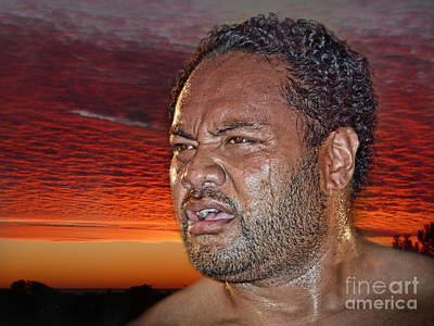 Tonga Digital Art - Rage Against The Dying Of The Light Portrait Of Pro Wrestler Sione Finau by Jim Fitzpatrick