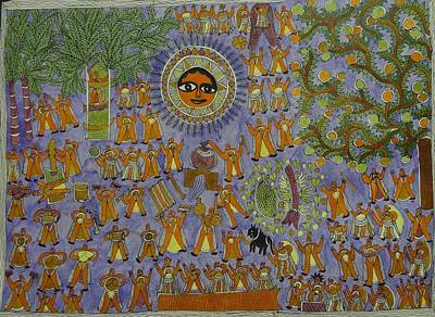 Raja Painting - Rahu Puja Mithila Painting From Emithilahaat by Indu Devi