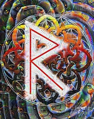 Yggdrasil Painting - The Raidho Rune by Luke Galutia