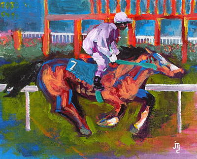 Belmont Stakes Painting - Rail Rider by J Travis Duncan