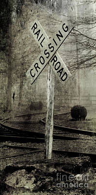 Railroad Crossing Sign Photograph - Railroad Crossing by Michael Eingle