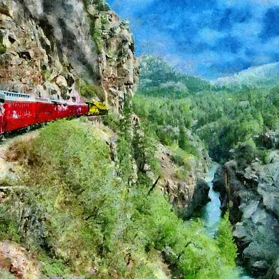 Train Digital Art - Rails Above The River by Jeff Kolker