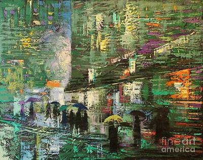 Painting - Rain Day Walkers 4 by Chin H  Shin