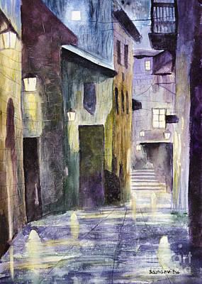 Rain Drenched Alleyway  Original by Samanvitha Rao