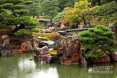 Autumn Landscape Photograph - Rain On Kyoto Garden by Carol Groenen