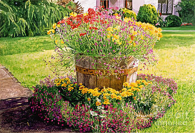 Barrel Painting - Rainbarrel Garden by David Lloyd Glover