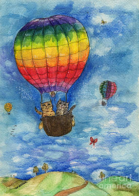 Rainbow Balloon Print by Angel  Tarantella