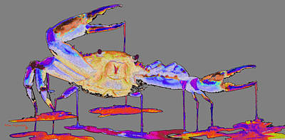 Crab Painting - Rainbow Blue Crab On Gray by Ken Figurski