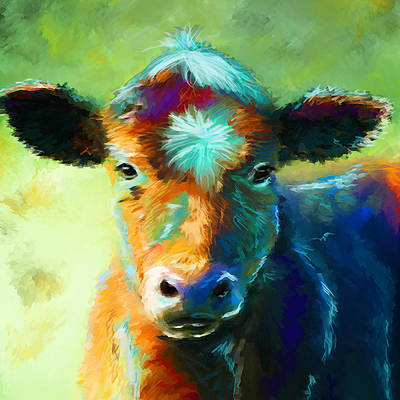 Cow Digital Art - Rainbow Calf by Michelle Wrighton