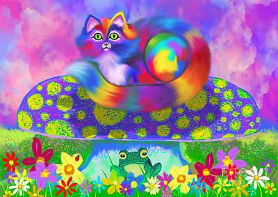 Digital Art - Rainbow Calico On A Mushroom by Nick Gustafson