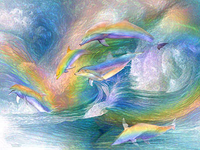 Rainbow Dolphins Print by Carol Cavalaris