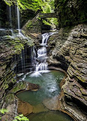 Finger Lakes Photograph - Rainbow Falls - Watkins Glen by Stephen Stookey