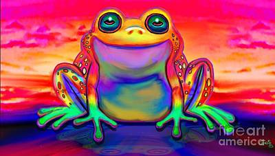 Drawing - Rainbow Frog Reflections  by Nick Gustafson