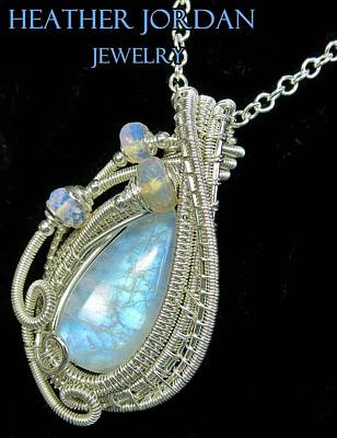 Wire Wrap Jewelry Jewelry - Rainbow Moonstone And Sterling Silver Wire-wrapped Pendant With Ethiopian Welo Opals Mnstpss8 by Heather Jordan