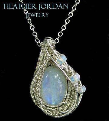 Wire Wrap Jewelry Jewelry - Rainbow Moonstone And Sterling Silver Wire-wrapped Pendant With Ethiopian Welo Opals Mnstpss9 by Heather Jordan