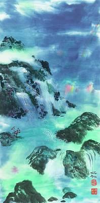 Ling Painting - Rainbow Night by Marilyn Allysum