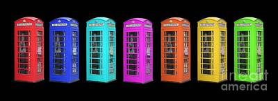 Rainbow Of London Phone Booths Tee Print by Edward Fielding