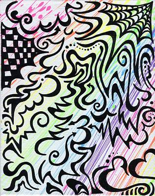 Abstract Hearts Drawing - Rainbow Of Love by Mandy Shupp