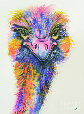 Rainbow Ostrich Original by Zaira Dzhaubaeva