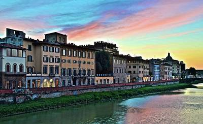 Tuscan Dusk Photograph - Rainbow Sky Over Florence Italy by Frozen in Time Fine Art Photography