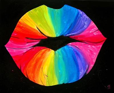 Multi Colored Painting - Rainbow Smooch by Marisela Mungia