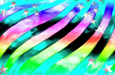 Stripe Digital Art - Rainbow Stars And Stripes by Ruth Moratz