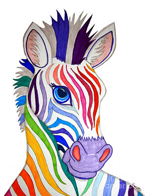 Zebra Drawing - Rainbow Striped Zebra by Nick Gustafson