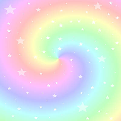 Rainbow Swirl With Stars Print by Marianna Mills