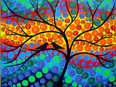 Wall Hanging Drawing - Rainbow Tree by Cathy Jacobs