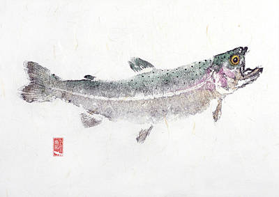 Rainbow Trout Mixed Media - Rainbow Trout #0007 by Kirby Wilson
