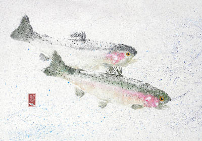 Rainbow Trout Mixed Media - Rainbow Trout Pair #rt0005 by Kirby Wilson
