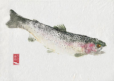 Rainbow Trout Mixed Media - Rainbow Trout #rt0003 by Kirby Wilson