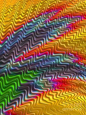 Turbulent Digital Art - Rainbow Waves by John Edwards
